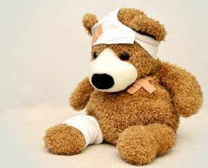 first aid on a teddy bear