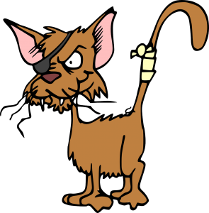 Cartoon injured cat