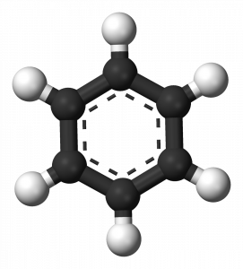 Ball-and-stick model of a benzyne ring