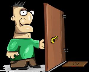graphic of man opening door