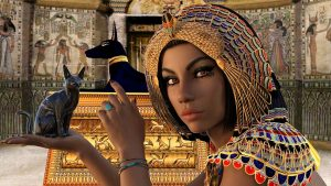 Artwork of Egyptian goddess holding black cat