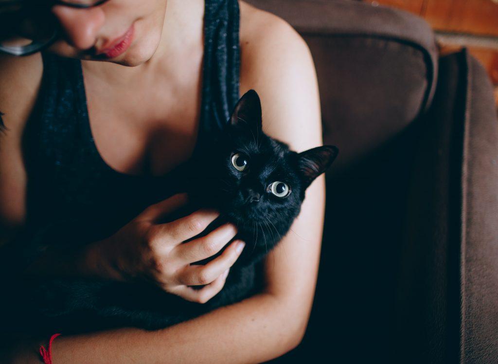 lady & black cat