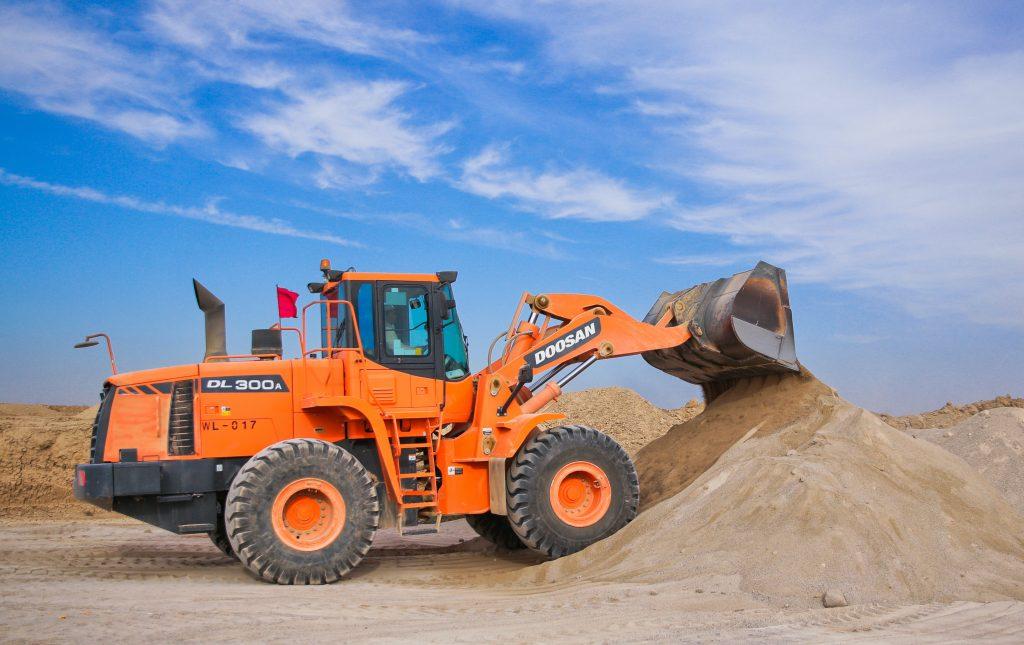 bulldozer scooping