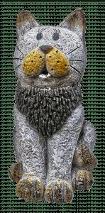 grey cat statue