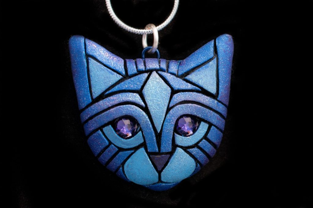 Linda Webb-Blue Cat Necklace