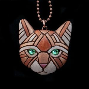 Linda Webb - Ginger Cat Necklace-Green Eyes