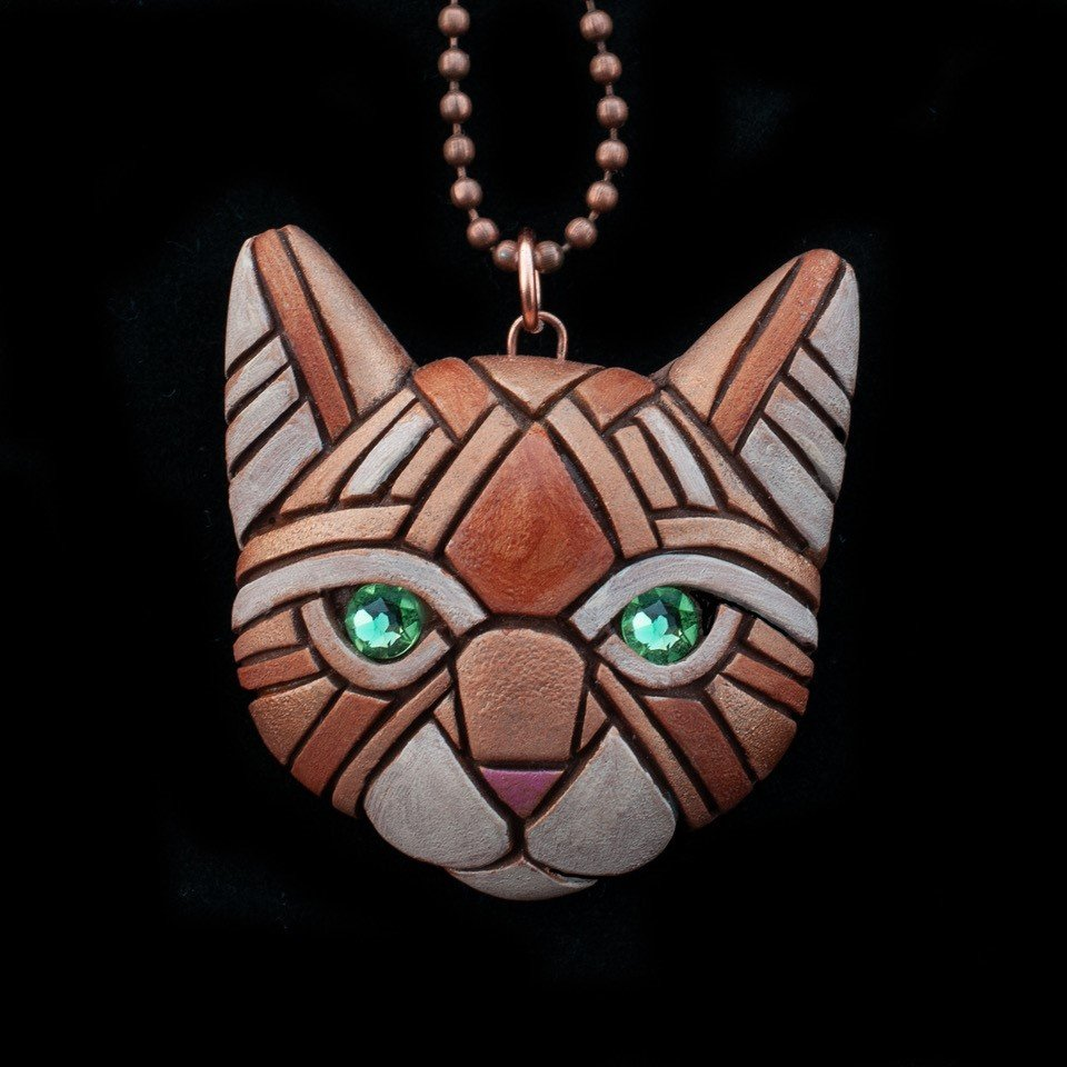 Linda Webb - Ginger Cat Necklace-Green Eyes