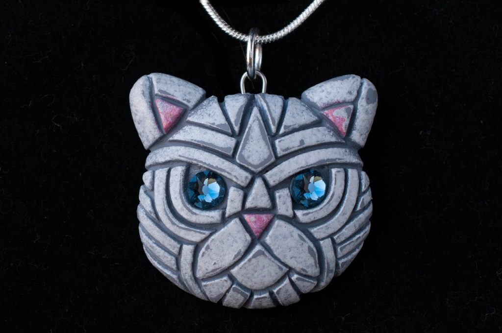 Linda Webb - Persian Cat Necklace-Blue Eyes
