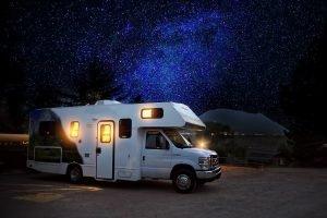 Mobile camper at night