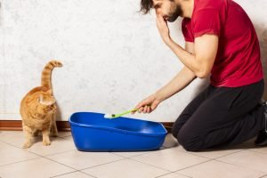 man holding nose while cleaning litter box